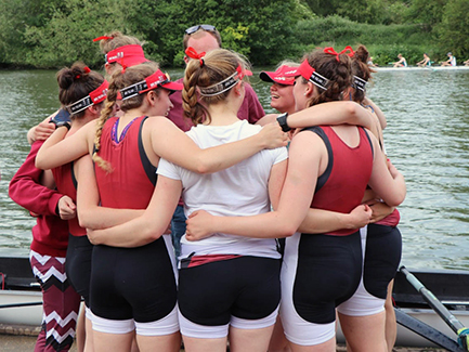 Student gathering before a rowing practice