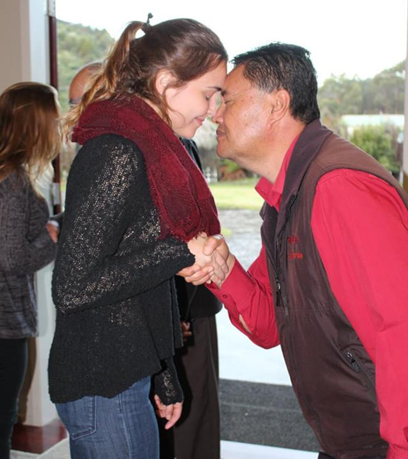 Welcome hongi at New Zealand marae